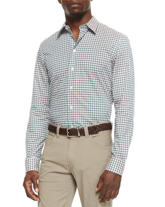 Gingham Woven Sport Shirt & Five-Pocket Stretch-Cotton Trousers