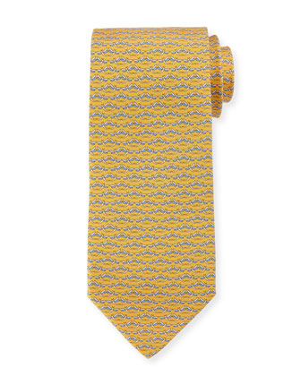 Dragonfly-Print Tie, Yellow