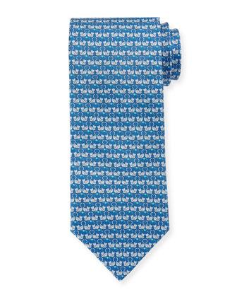 Cat-Printed Silk Tie, Aqua