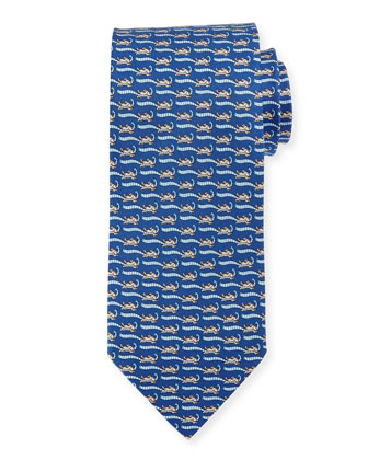 Dog-Print Tie, Blue