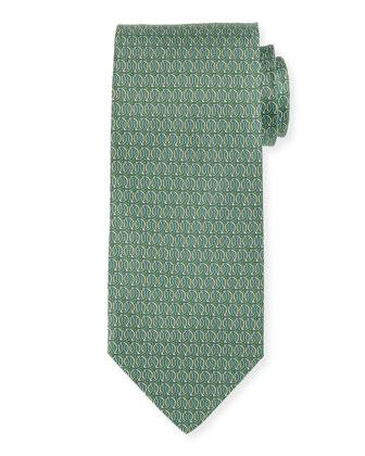 Linked Gancini-Print Tie, Green