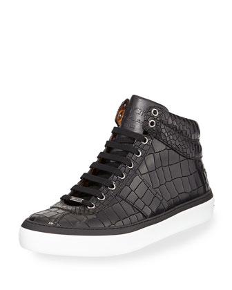 Belgravi Crocodile-Embossed High-Top Sneaker, Black