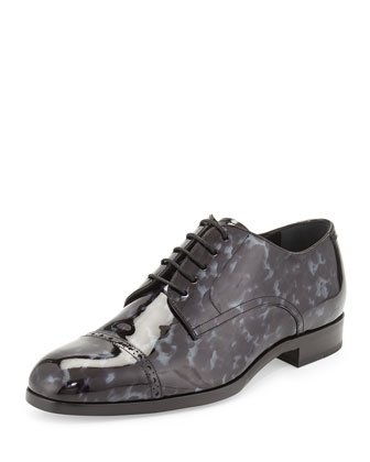 Prescott Tortoise Patent Leather Lace-Up Shoe, Black/Gray