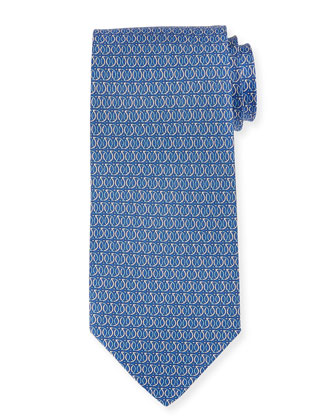 Linked Gancini-Print Tie, Blue