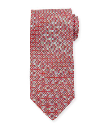 Linked Gancini-Print Tie, Red