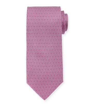 Linked Gancini-Print Tie, Pink