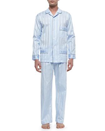 Tonal-Stripe Pajama Set, Light Blue