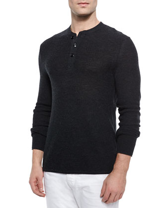 Griffin Slub-Knit Henley, Black