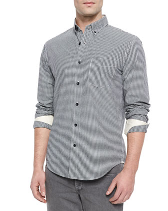 Yokohama Small-Check Woven Shirt, Black/White