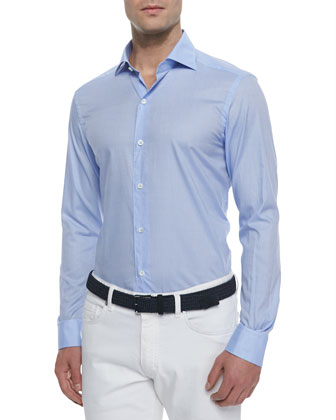 Woven Solid Sport Shirt, Light Blue