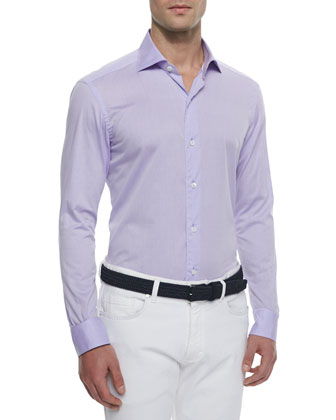 Woven Solid Sport Shirt, Lilac