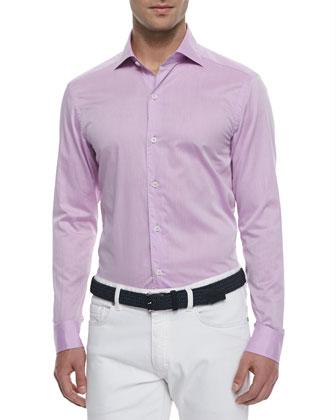 Woven Solid Sport Shirt, Magenta