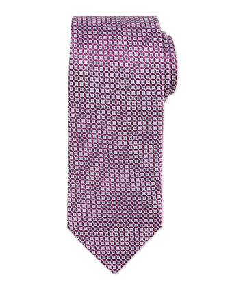 Neat Dot Pattern Silk Tie, Purple/Blue
