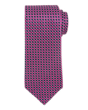Small-Neat Diamond Silk Tie, Fuchsia/Blue