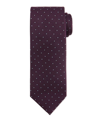 Mini-Dot Pattern Silk Tie, Purple/Blue