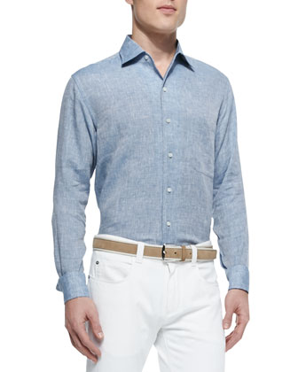 Andre Long-Sleeve Linen Shirt & Five-Pocket Denim Jeans