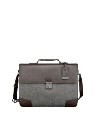 Astor Dorilton Slim Flap Briefcase, Earl Gray