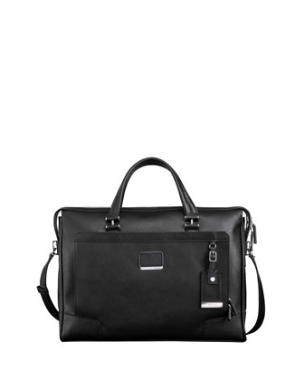 Astor Regis Slim Leather Briefcase, Black