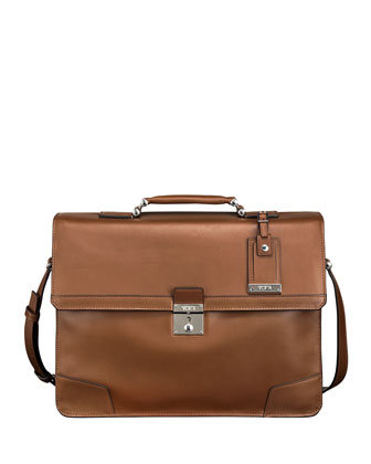 Astor Dorilton Slim Flap Briefcase, Umber
