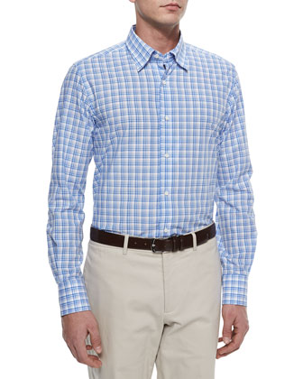 Long-Sleeve Plaid Sport Shirt, Blue