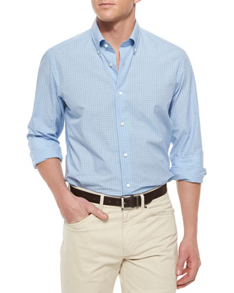 Micro-Plaid Long-Sleeve Sport Shirt, Blue