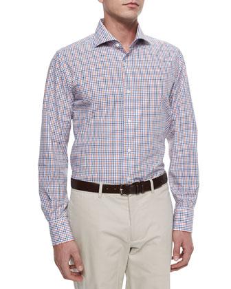 Long-Sleeve Tattersall Sport Shirt, Navy/Blue/Orange