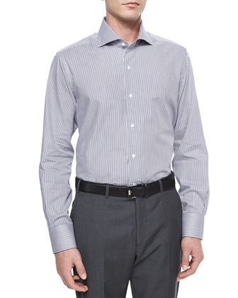 Bengal Stripe Sport Shirt, Navy/White