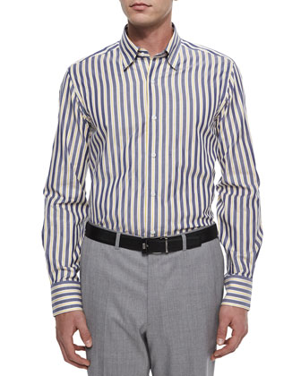 Long-Sleeve Striped Sport Shirt, White/Navy/Yellow