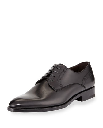 Perforated Derby Shoe, Black