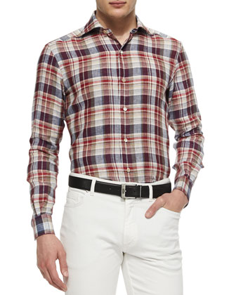 Large-Plaid Linen Sport Shirt & Slim Fit Five-Pocket Denim Jeans