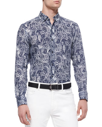 Washed Plaid Two-Button Soft Jacket, Paisley-Print Linen Sport Shirt & Slim ...