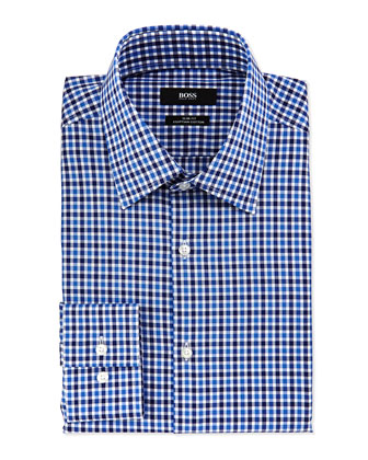 Slim Fit Gingham Dress Shirt, Blue/Light Blue