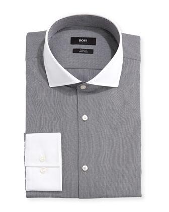 Slim Fit Easy Iron Woven Mini-Striped Dress Shirt, Black/White