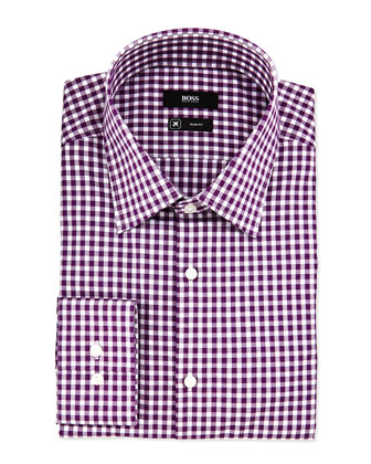 Slim Fit Check Woven Dress Shirt, Black Cherry/White