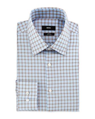 Slim Fit Easy Iron Tattersall-Check Dress Shirt, Tan/Blue