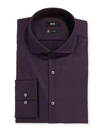Slim Fit Pindot Dress Shirt, Black Cherry
