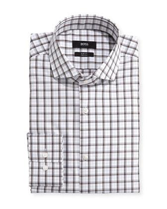 Slim Fit Two Ply Dress Shirt, Brown/White Plaid