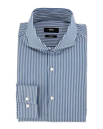 Slim Fit Majoica White Stripe Dress Shirt, Blue