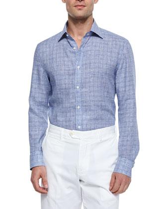 Grid-Plaid Woven Sport Shirt, Blue