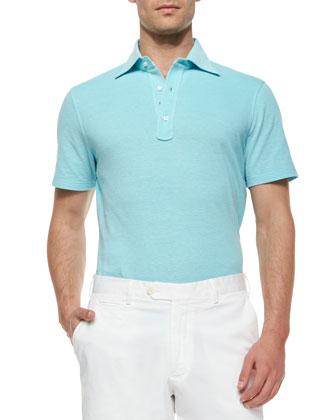 Short-Sleeve Pique Polo Shirt, Blue