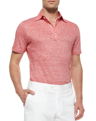 Fine-Striped Short-Sleeve Polo Shirt & Woven Cotton Shorts