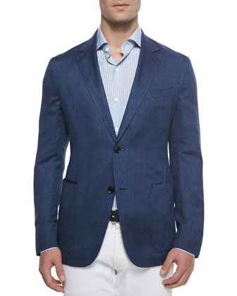 Twill Two-Button Jacket, Blue
