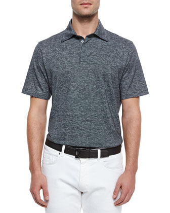 Spread Collar Polo Shirt, Black