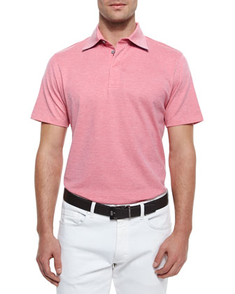 Short-Sleeve Knit Polo Shirt, Coral