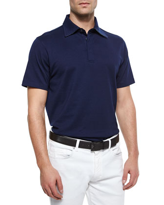 Short-Sleeve Knit Polo Shirt, Navy