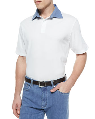 Contrast Collar Short-Sleeve Polo, White