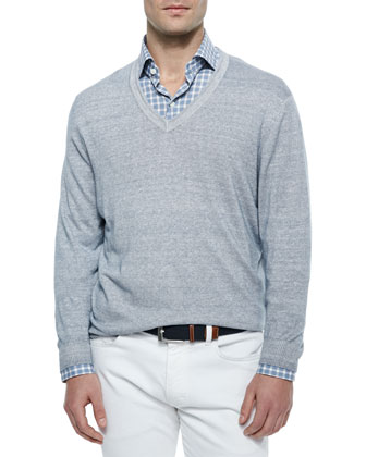 Garment-Dyed V-Neck Sweater, Light Blue