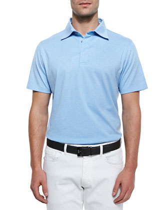 Spread Collar Polo Shirt, Blue
