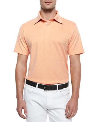 Spread Collar Polo Shirt, Orange