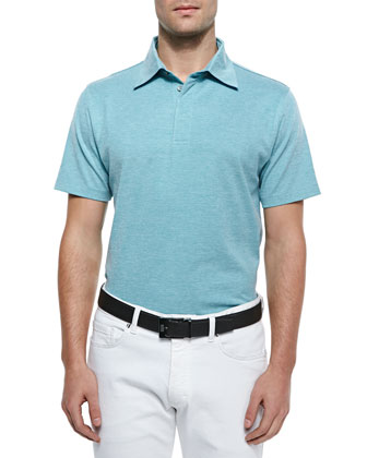 Spread Collar Polo Shirt, Turquoise